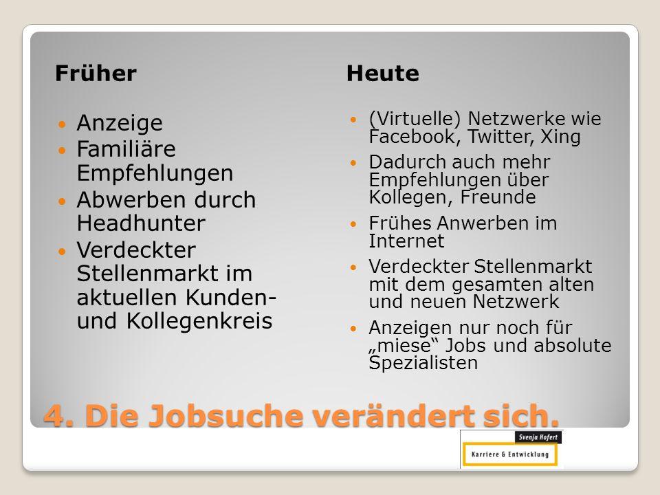 4. Die Jobsuche verändert sich. FrüherHeute Anzeige Familiäre Empfehlungen Abwerben durch Headhunter Verdeckter Stellenmarkt im aktuellen Kunden- und