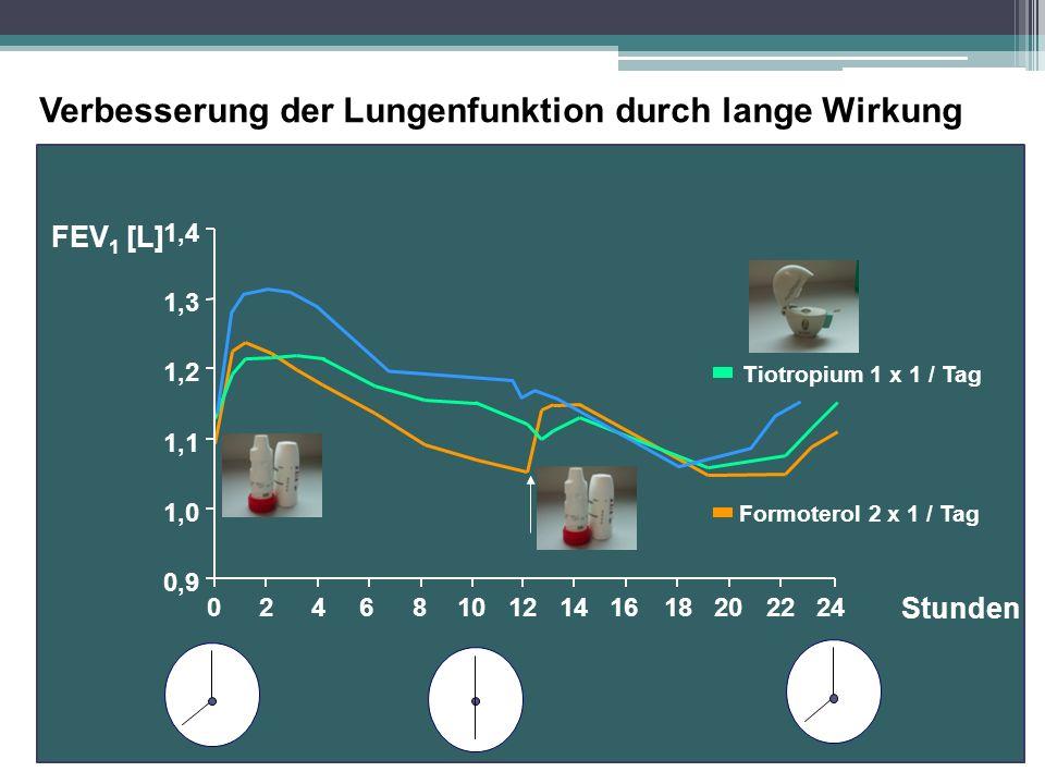 046810121416182022242 Formoterol 2 x 1 / Tag Tiotropium 1 x 1 / Tag 0,9 1,0 1,1 1,2 1,3 1,4 FEV 1 [L] Verbesserung der Lungenfunktion durch lange Wirk