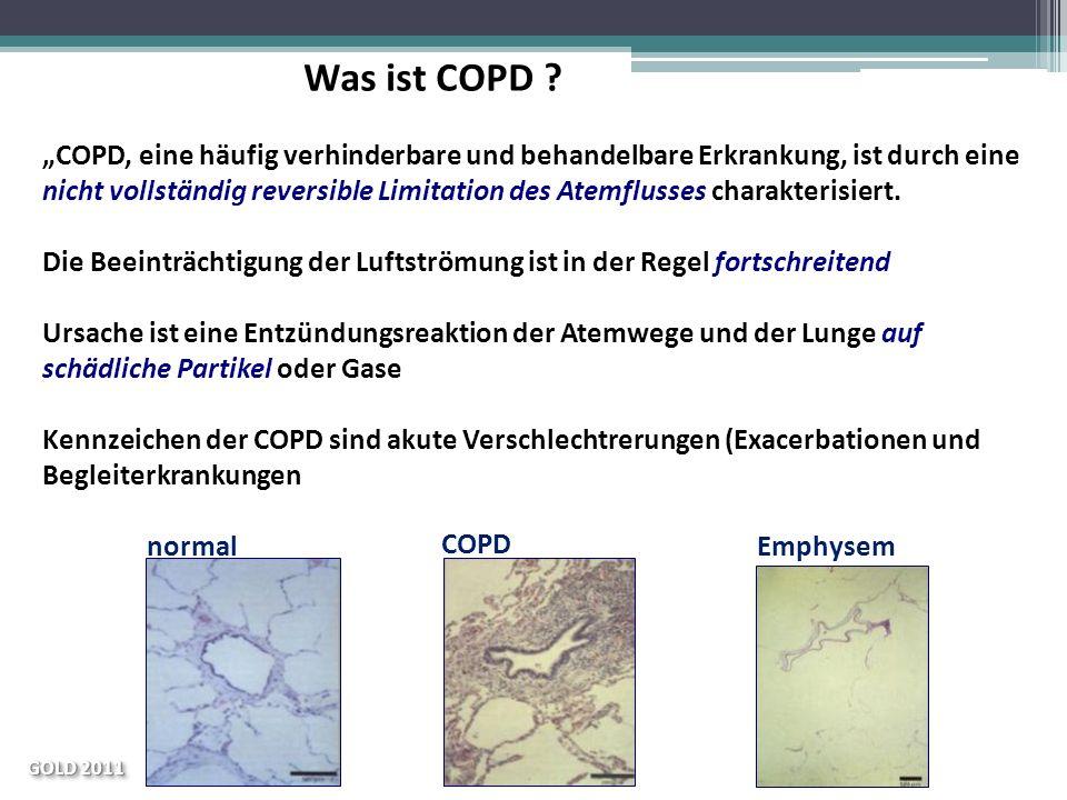 normal COPD Emphysem COPD, eine häufig verhinderbare und behandelbare Erkrankung, ist durch eine nicht vollständig reversible Limitation des Atemfluss