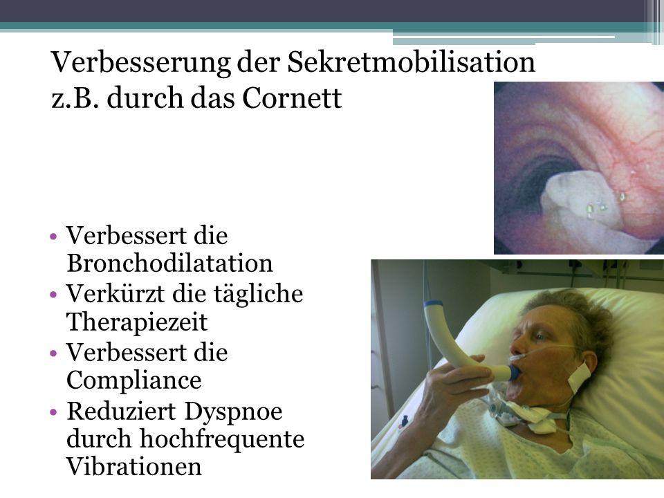 Verbesserung der Sekretmobilisation z.B. durch das Cornett Verbessert die Bronchodilatation Verkürzt die tägliche Therapiezeit Verbessert die Complian