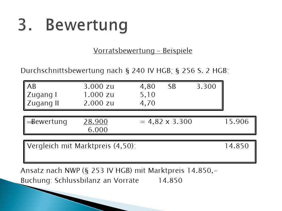 Vorratsbewertung – Beispiele Durchschnittsbewertung nach § 240 IV HGB; § 256 S. 2 HGB: Ansatz nach NWP (§ 253 IV HGB) mit Marktpreis 14.850,- Buchung:
