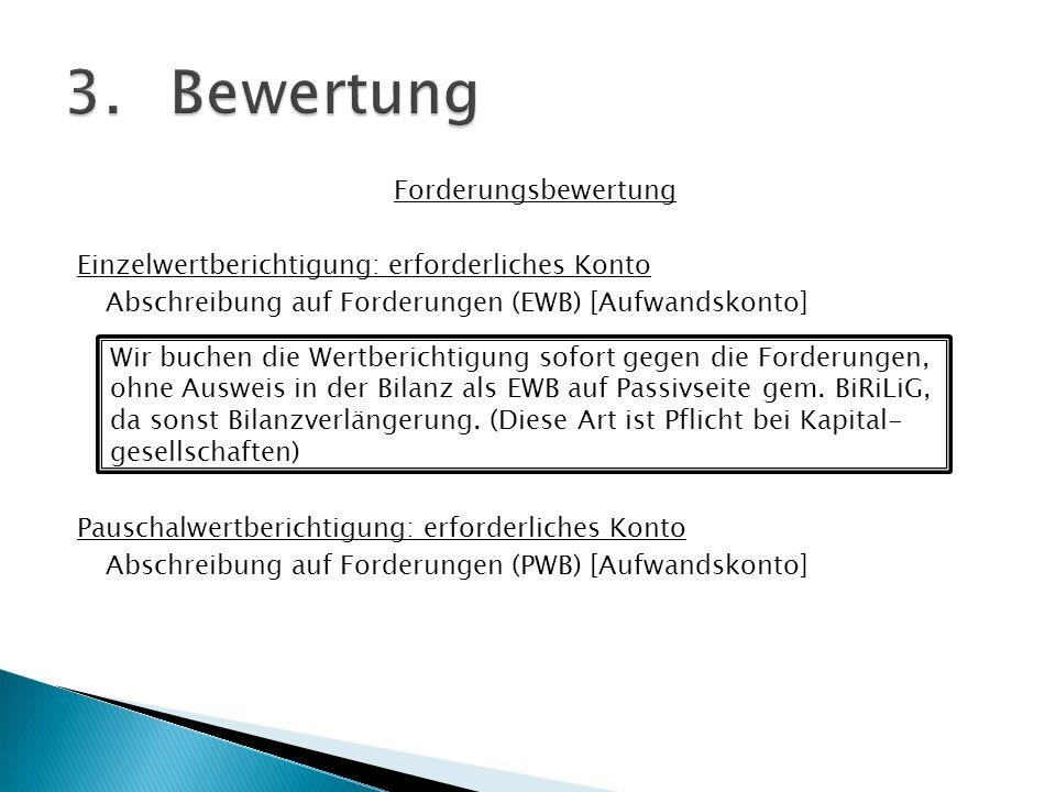 Forderungsbewertung Einzelwertberichtigung: erforderliches Konto Abschreibung auf Forderungen (EWB) [Aufwandskonto] Pauschalwertberichtigung: erforder
