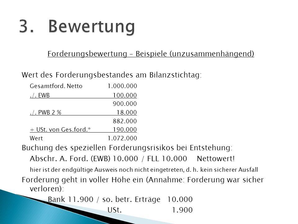 Forderungsbewertung – Beispiele (unzusammenhängend) Wert des Forderungsbestandes am Bilanzstichtag: Gesamtford. Netto1.000.000./. EWB 100.000 900.000.