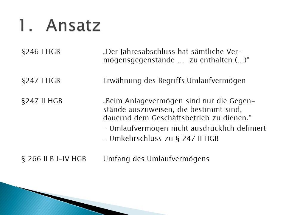 §246 I HGBDer Jahresabschluss hat sämtliche Ver- mögensgegenstände … zu enthalten (…) §247 I HGBErwähnung des Begriffs Umlaufvermögen §247 II HGBBeim