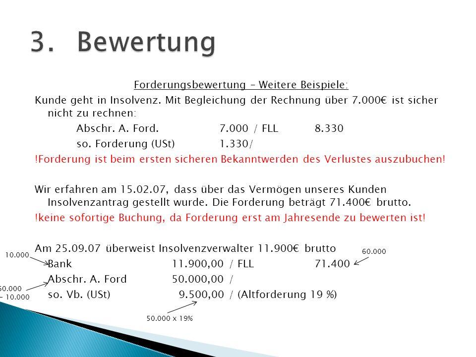 Forderungsbewertung – Weitere Beispiele: Kunde geht in Insolvenz. Mit Begleichung der Rechnung über 7.000 ist sicher nicht zu rechnen: Abschr. A. Ford