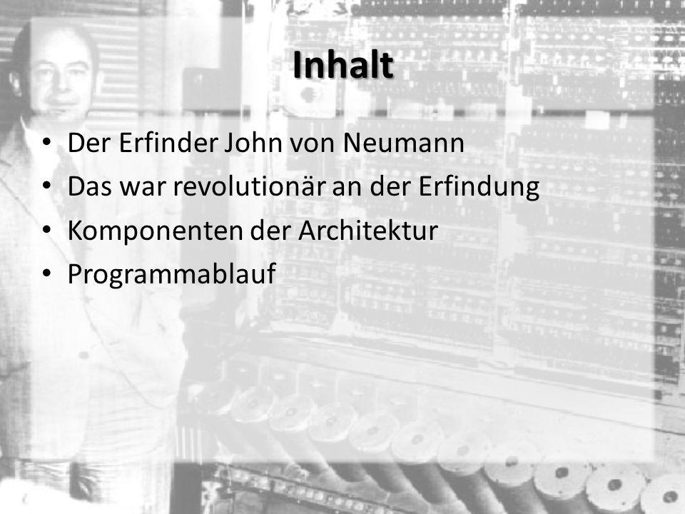 Inhalt Der Erfinder John von Neumann Das war revolutionär an der Erfindung Komponenten der Architektur Programmablauf