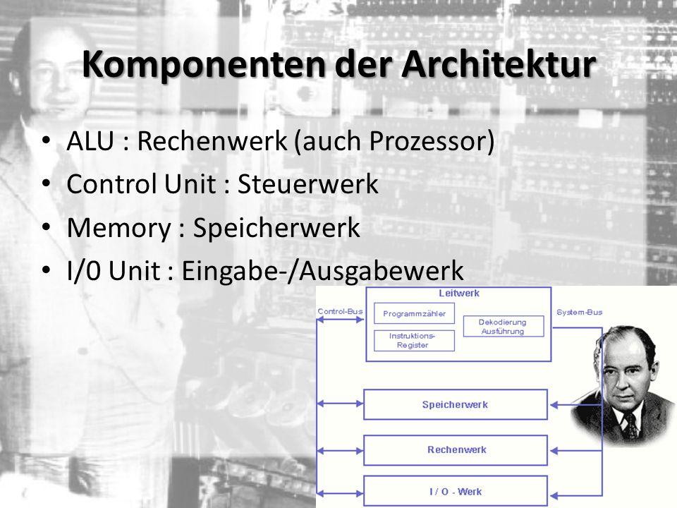 ALU : Rechenwerk (auch Prozessor) Control Unit : Steuerwerk Memory : Speicherwerk I/0 Unit : Eingabe-/Ausgabewerk Komponenten der Architektur