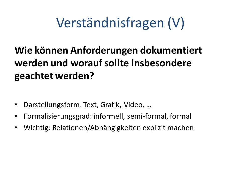 Verständnisfragen (V) Wie können Anforderungen dokumentiert werden und worauf sollte insbesondere geachtet werden? Darstellungsform: Text, Grafik, Vid