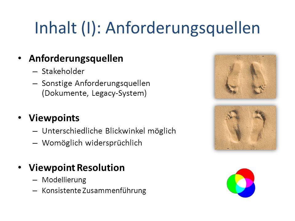 Inhalt (I): Anforderungsquellen Anforderungsquellen – Stakeholder – Sonstige Anforderungsquellen (Dokumente, Legacy-System) Viewpoints – Unterschiedli
