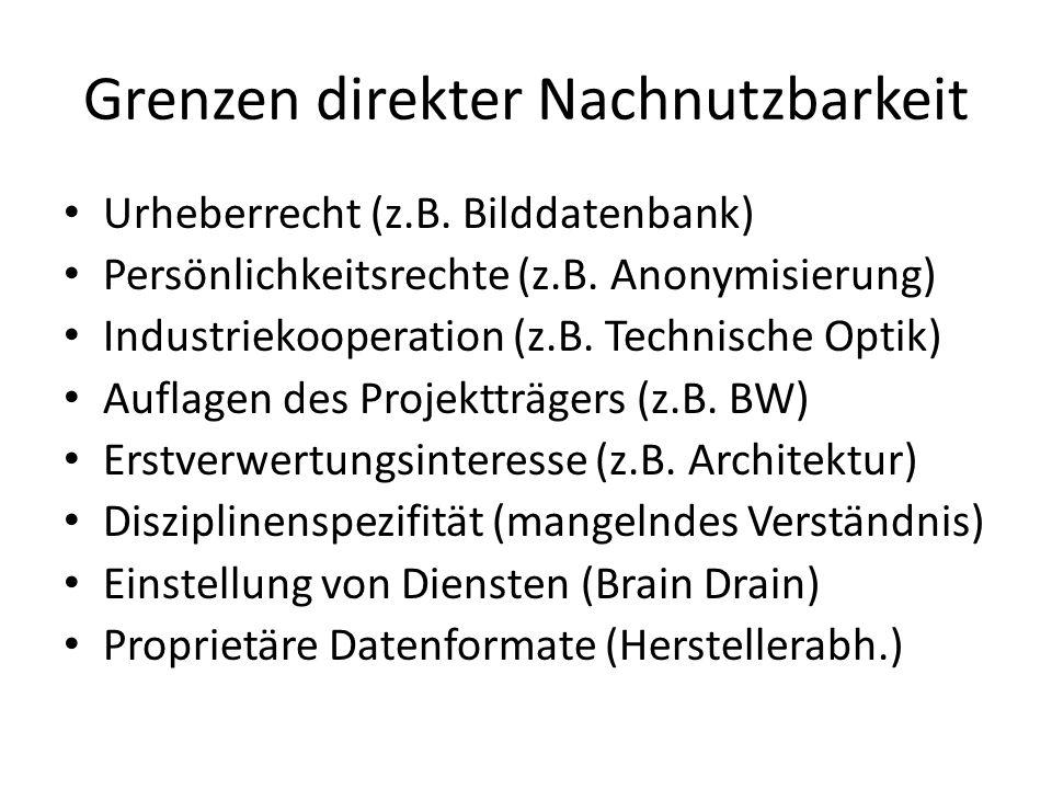 Grenzen direkter Nachnutzbarkeit Urheberrecht (z.B. Bilddatenbank) Persönlichkeitsrechte (z.B. Anonymisierung) Industriekooperation (z.B. Technische O