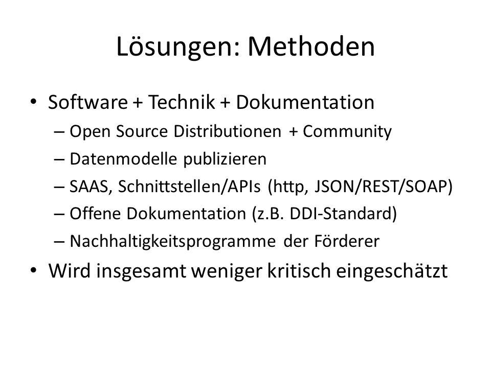Lösungen: Methoden Software + Technik + Dokumentation – Open Source Distributionen + Community – Datenmodelle publizieren – SAAS, Schnittstellen/APIs (http, JSON/REST/SOAP) – Offene Dokumentation (z.B.