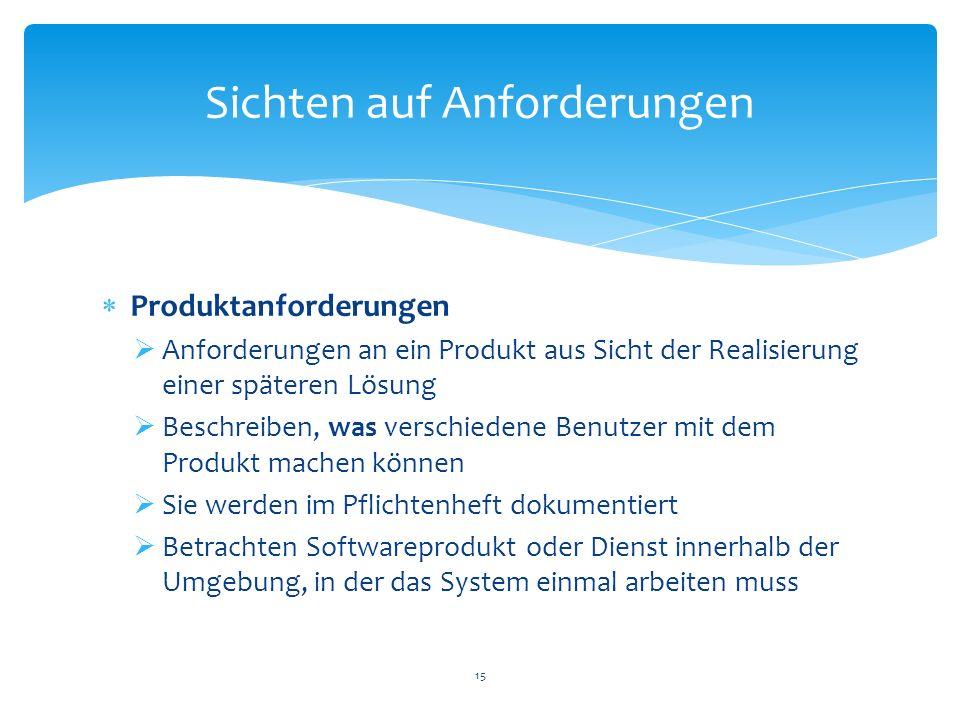 Produktanforderungen Anforderungen an ein Produkt aus Sicht der Realisierung einer späteren Lösung Beschreiben, was verschiedene Benutzer mit dem Prod