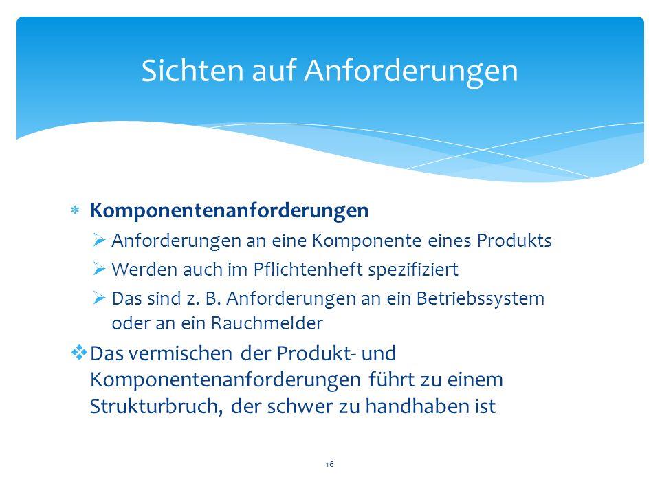 Komponentenanforderungen Anforderungen an eine Komponente eines Produkts Werden auch im Pflichtenheft spezifiziert Das sind z. B. Anforderungen an ein
