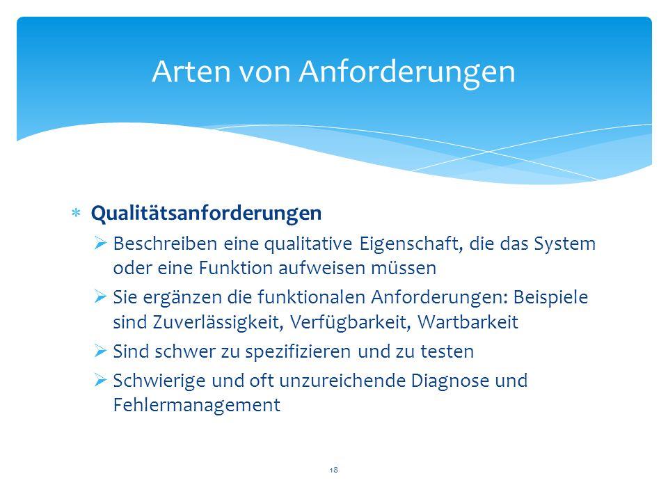 Qualitätsanforderungen Beschreiben eine qualitative Eigenschaft, die das System oder eine Funktion aufweisen müssen Sie ergänzen die funktionalen Anfo