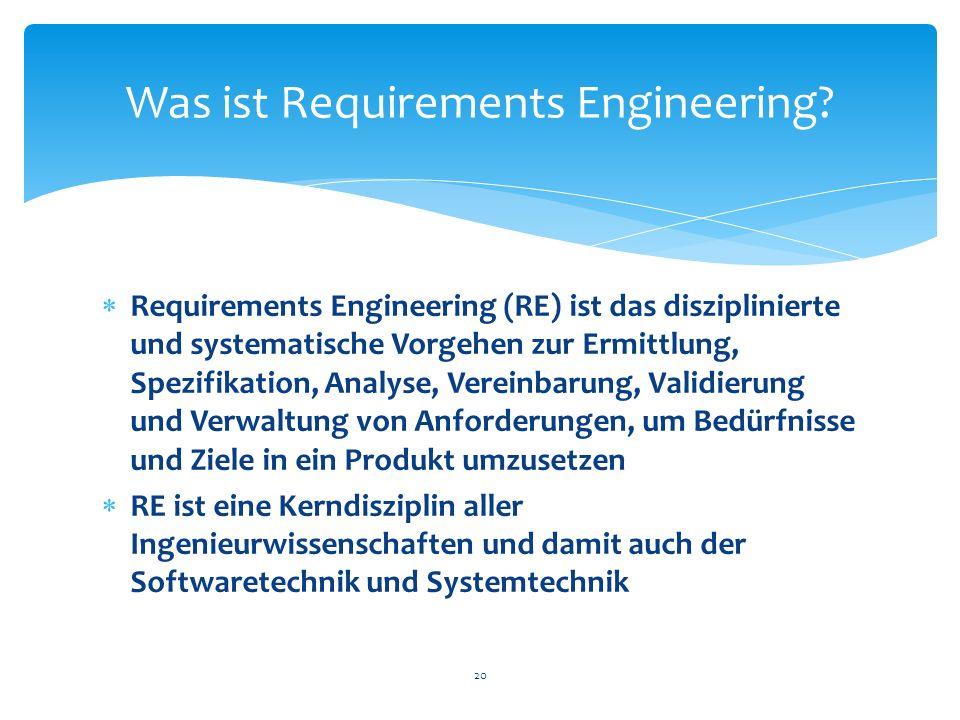 Requirements Engineering (RE) ist das disziplinierte und systematische Vorgehen zur Ermittlung, Spezifikation, Analyse, Vereinbarung, Validierung und