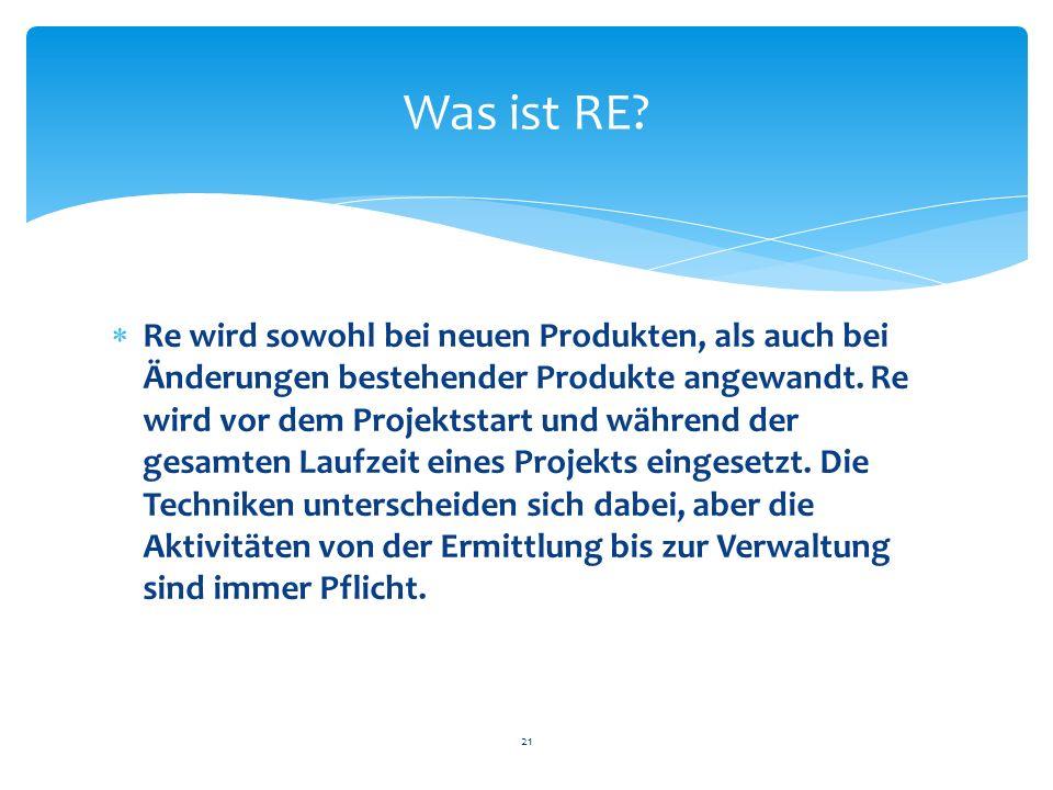 Re wird sowohl bei neuen Produkten, als auch bei Änderungen bestehender Produkte angewandt. Re wird vor dem Projektstart und während der gesamten Lauf