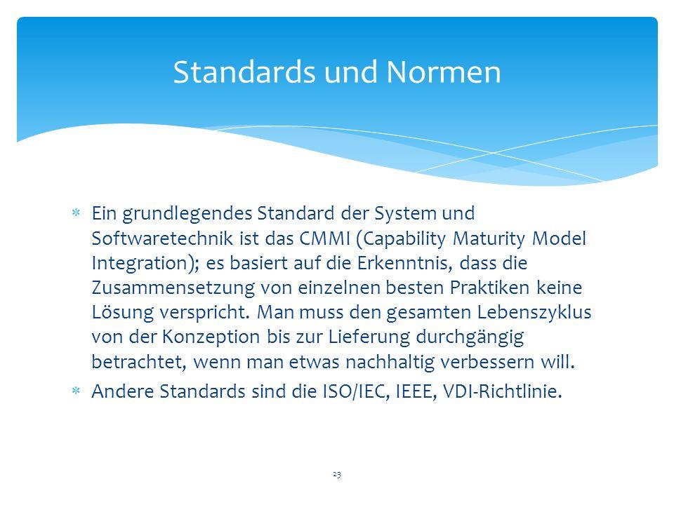 Ein grundlegendes Standard der System und Softwaretechnik ist das CMMI (Capability Maturity Model Integration); es basiert auf die Erkenntnis, dass di