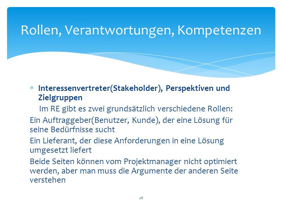 Interessenvertreter(Stakeholder), Perspektiven und Zielgruppen Im RE gibt es zwei grundsätzlich verschiedene Rollen: Ein Auftraggeber(Benutzer, Kunde)