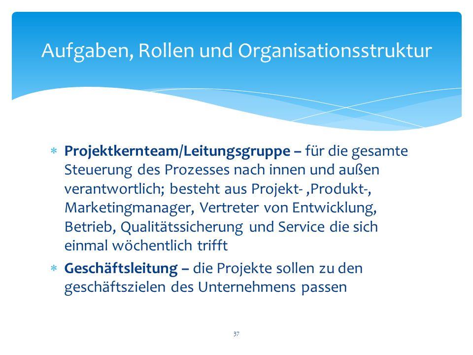 Projektkernteam/Leitungsgruppe – für die gesamte Steuerung des Prozesses nach innen und außen verantwortlich; besteht aus Projekt-,Produkt-, Marketing