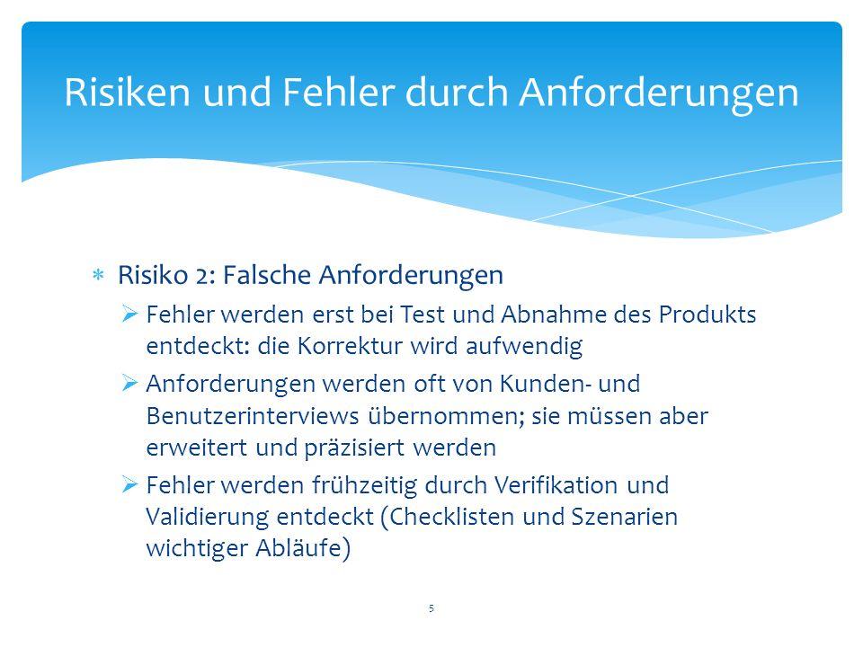 Risiko 2: Falsche Anforderungen Fehler werden erst bei Test und Abnahme des Produkts entdeckt: die Korrektur wird aufwendig Anforderungen werden oft v