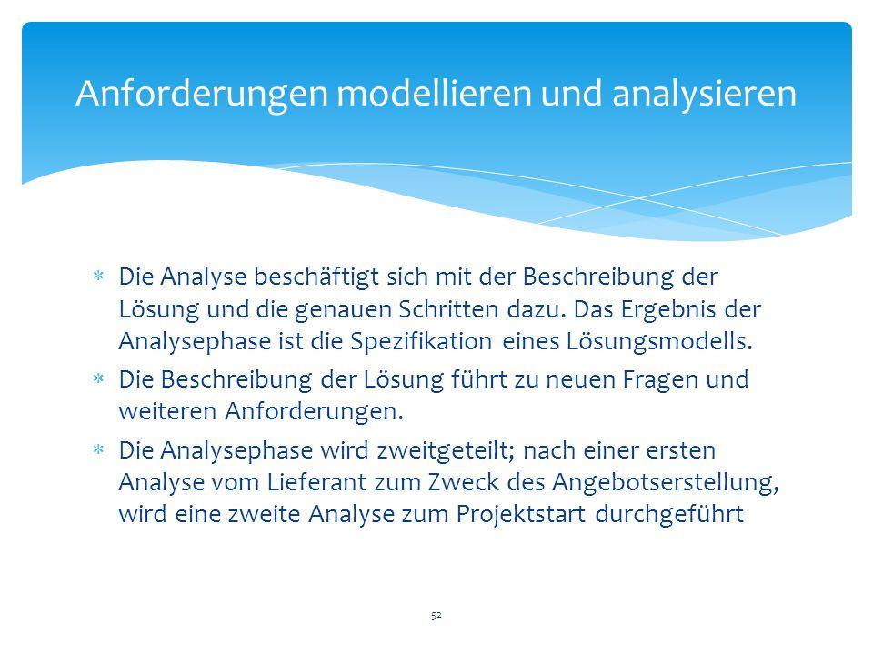 Die Analyse beschäftigt sich mit der Beschreibung der Lösung und die genauen Schritten dazu. Das Ergebnis der Analysephase ist die Spezifikation eines