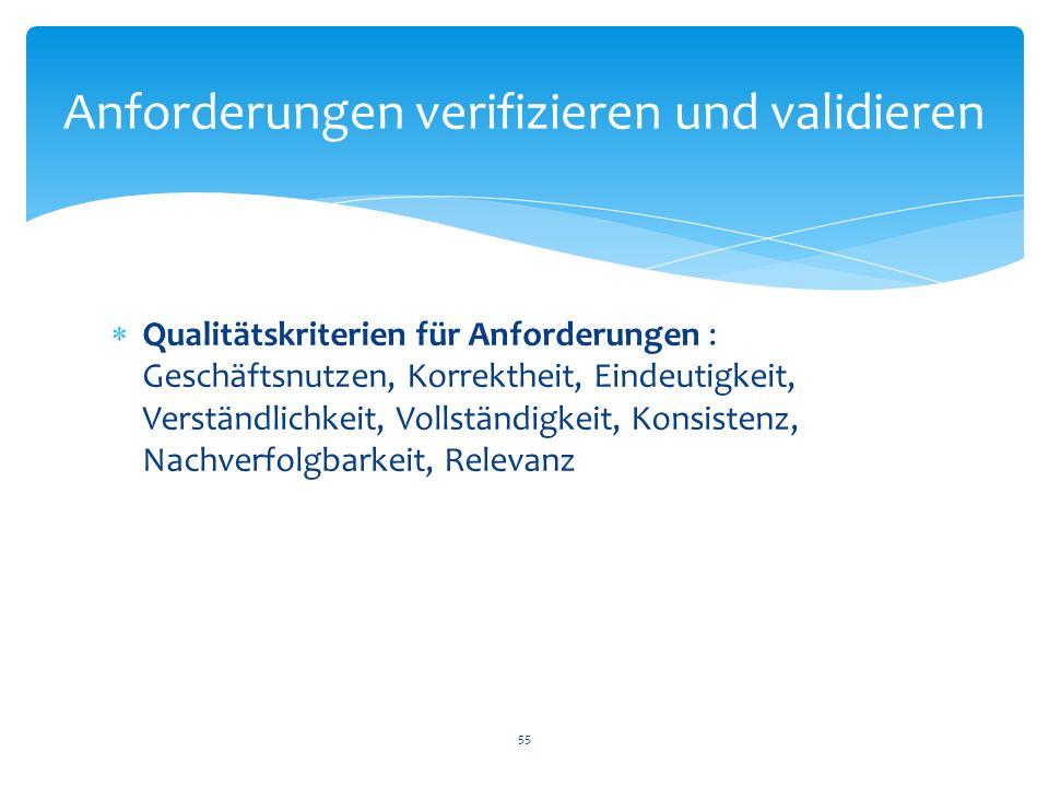 Qualitätskriterien für Anforderungen : Geschäftsnutzen, Korrektheit, Eindeutigkeit, Verständlichkeit, Vollständigkeit, Konsistenz, Nachverfolgbarkeit,
