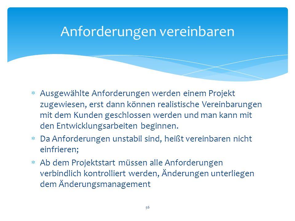 Ausgewählte Anforderungen werden einem Projekt zugewiesen, erst dann können realistische Vereinbarungen mit dem Kunden geschlossen werden und man kann