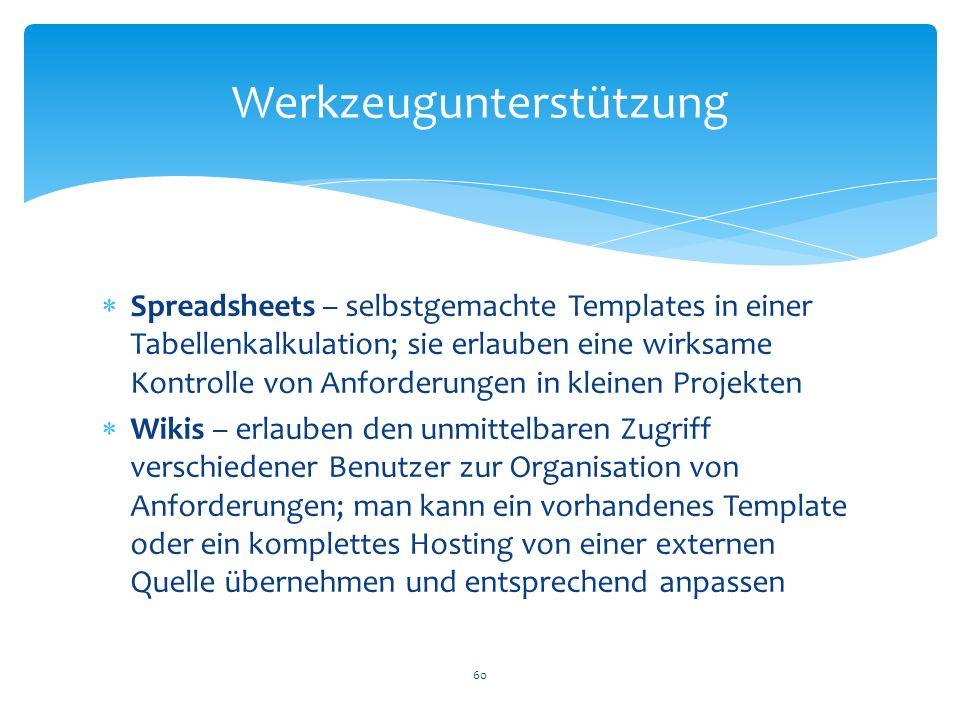 Spreadsheets – selbstgemachte Templates in einer Tabellenkalkulation; sie erlauben eine wirksame Kontrolle von Anforderungen in kleinen Projekten Wiki