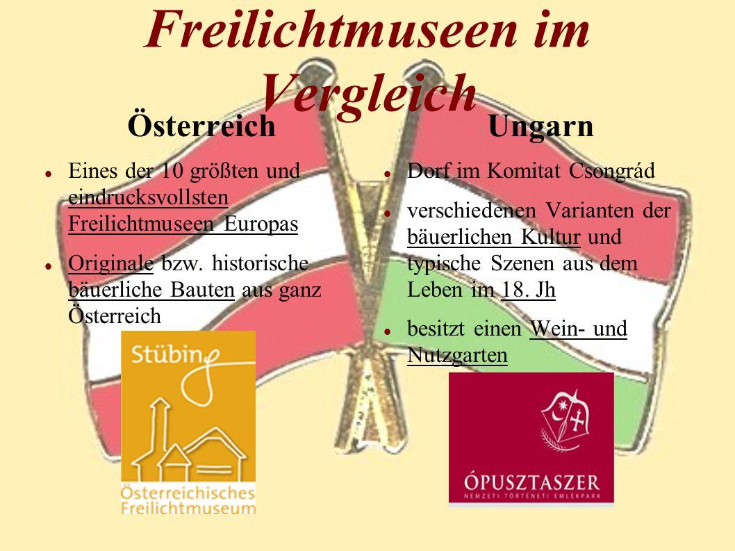 Freilichtmuseen im Vergleich Österreich Eines der 10 größten und eindrucksvollsten Freilichtmuseen Europas Originale bzw. historische bäuerliche Baute