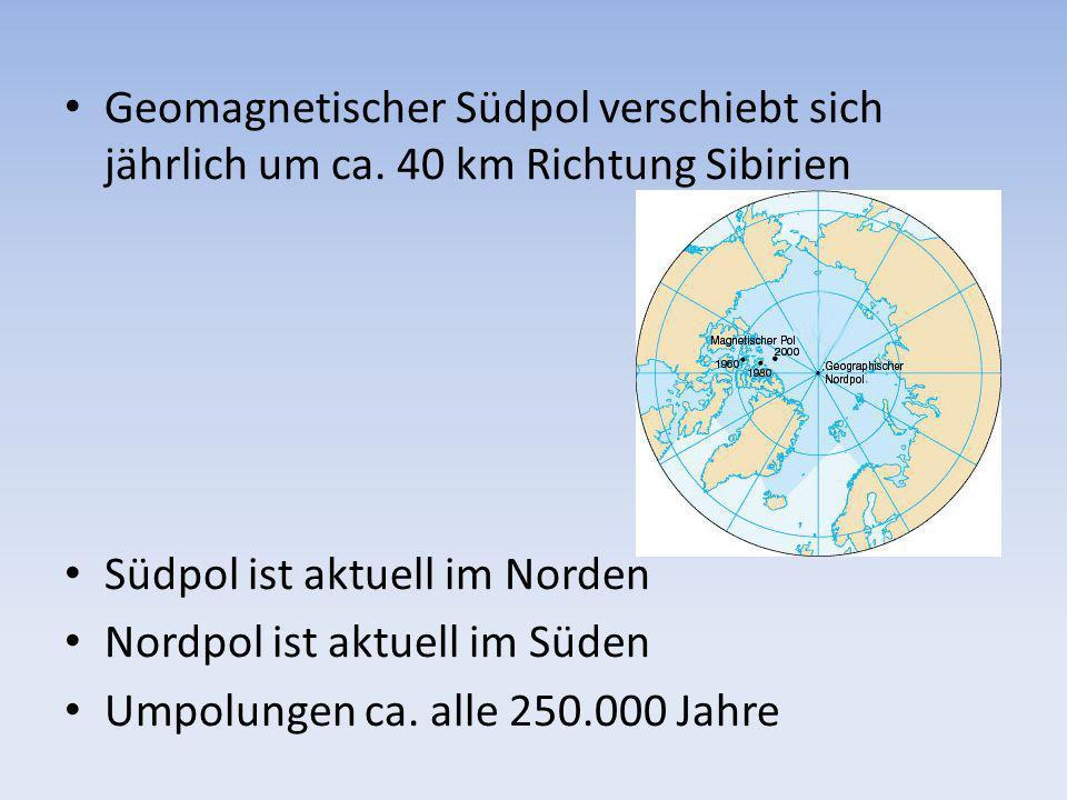 Geomagnetischer Südpol verschiebt sich jährlich um ca. 40 km Richtung Sibirien Südpol ist aktuell im Norden Nordpol ist aktuell im Süden Umpolungen ca