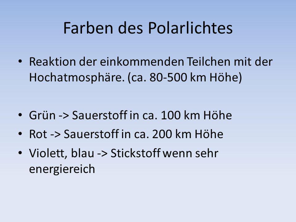 Farben des Polarlichtes Reaktion der einkommenden Teilchen mit der Hochatmosphäre. (ca. 80-500 km Höhe) Grün -> Sauerstoff in ca. 100 km Höhe Rot -> S