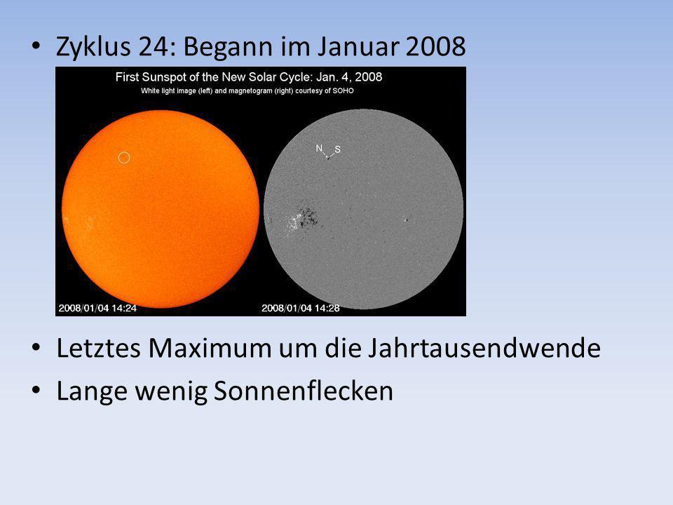 Zyklus 24: Begann im Januar 2008 Letztes Maximum um die Jahrtausendwende Lange wenig Sonnenflecken