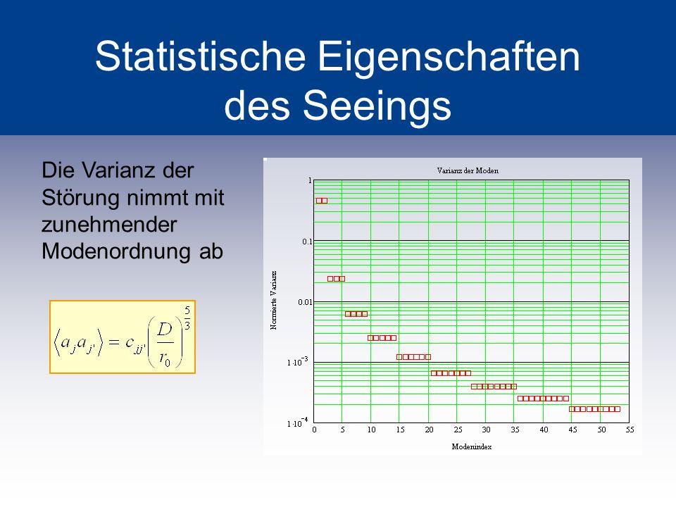 Statistische Eigenschaften des Seeings Die Varianz der Störung nimmt mit zunehmender Modenordnung ab
