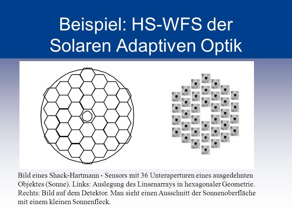 Beispiel: HS-WFS der Solaren Adaptiven Optik Bild eines Shack-Hartmann - Sensors mit 36 Unteraperturen eines ausgedehnten Objektes (Sonne). Links: Aus