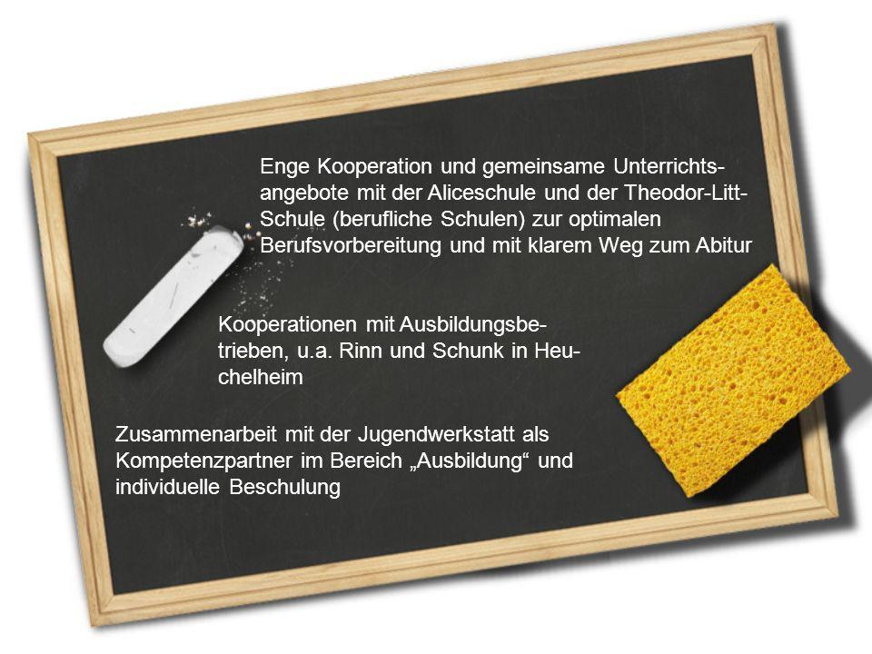 Enge Kooperation und gemeinsame Unterrichts- angebote mit der Aliceschule und der Theodor-Litt- Schule (berufliche Schulen) zur optimalen Berufsvorber