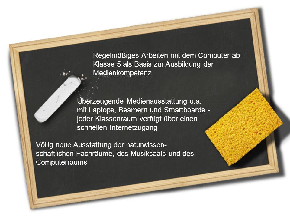 Regelmäßiges Arbeiten mit dem Computer ab Klasse 5 als Basis zur Ausbildung der Medienkompetenz Überzeugende Medienausstattung u.a. mit Laptops, Beame