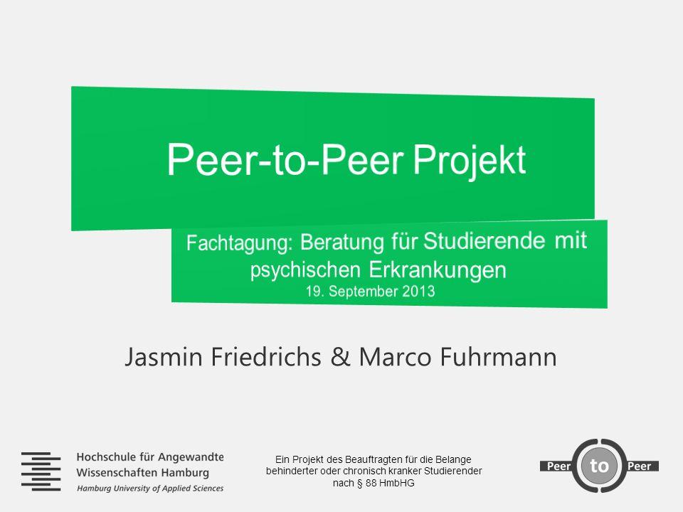 Peer-to-Peer Projekt Jasmin Friedrichs & Marco Fuhrmann Berater_innen & Begleiter_innen mit Selbsterfahrung finden Verstetigung/Finanzierung des Projekts Die Umsetzung inhaltlicher Ansprüche gestaltet sich aufgrund des Projektcharakters schwierig