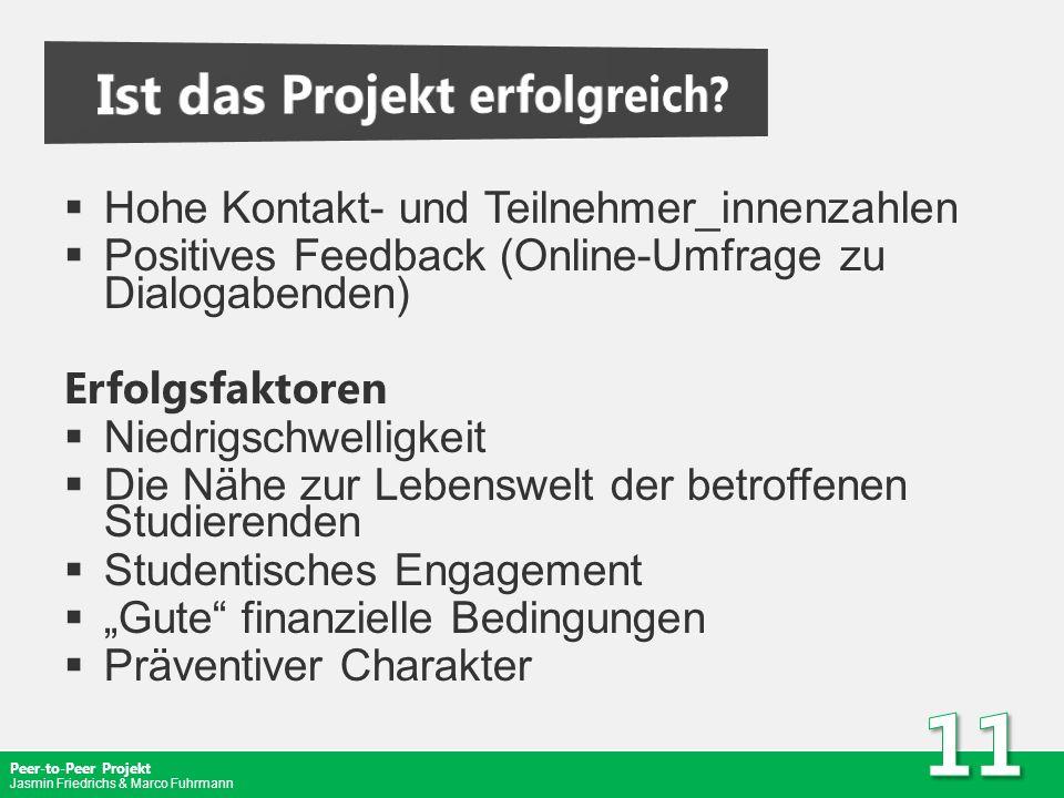 Peer-to-Peer Projekt Jasmin Friedrichs & Marco Fuhrmann Hohe Kontakt- und Teilnehmer_innenzahlen Positives Feedback (Online-Umfrage zu Dialogabenden)