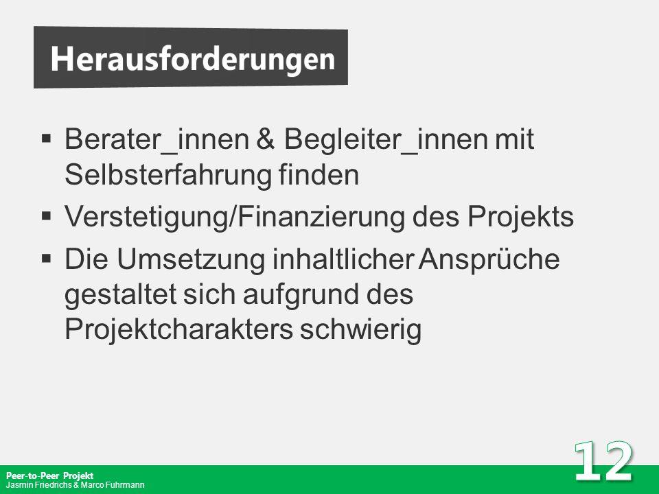Peer-to-Peer Projekt Jasmin Friedrichs & Marco Fuhrmann Berater_innen & Begleiter_innen mit Selbsterfahrung finden Verstetigung/Finanzierung des Proje