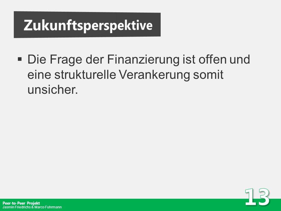 Peer-to-Peer Projekt Jasmin Friedrichs & Marco Fuhrmann Die Frage der Finanzierung ist offen und eine strukturelle Verankerung somit unsicher.