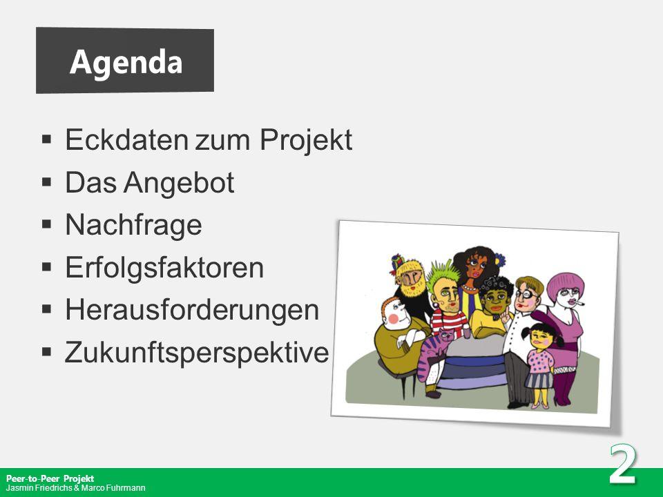 Peer-to-Peer Projekt Jasmin Friedrichs & Marco Fuhrmann Eckdaten zum Projekt Das Angebot Nachfrage Erfolgsfaktoren Herausforderungen Zukunftsperspekti