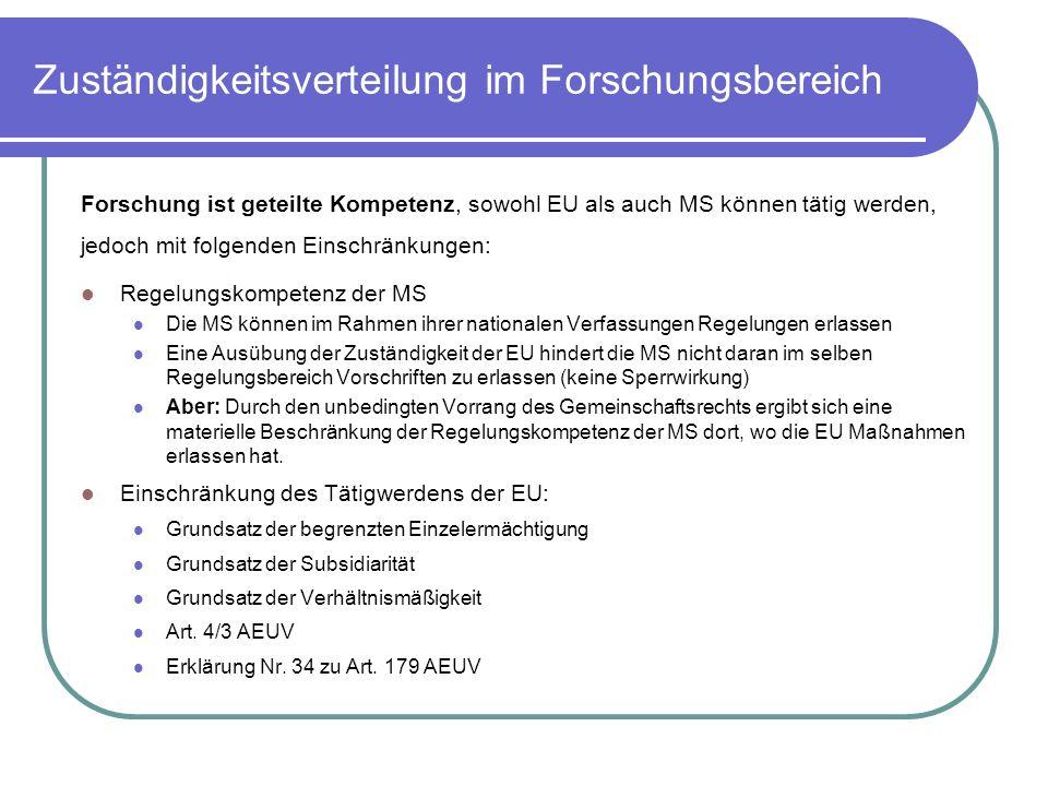 Zuständigkeitsverteilung im Forschungsbereich Forschung ist geteilte Kompetenz, sowohl EU als auch MS können tätig werden, jedoch mit folgenden Einschränkungen: Regelungskompetenz der MS Die MS können im Rahmen ihrer nationalen Verfassungen Regelungen erlassen Eine Ausübung der Zuständigkeit der EU hindert die MS nicht daran im selben Regelungsbereich Vorschriften zu erlassen (keine Sperrwirkung) Aber: Durch den unbedingten Vorrang des Gemeinschaftsrechts ergibt sich eine materielle Beschränkung der Regelungskompetenz der MS dort, wo die EU Maßnahmen erlassen hat.