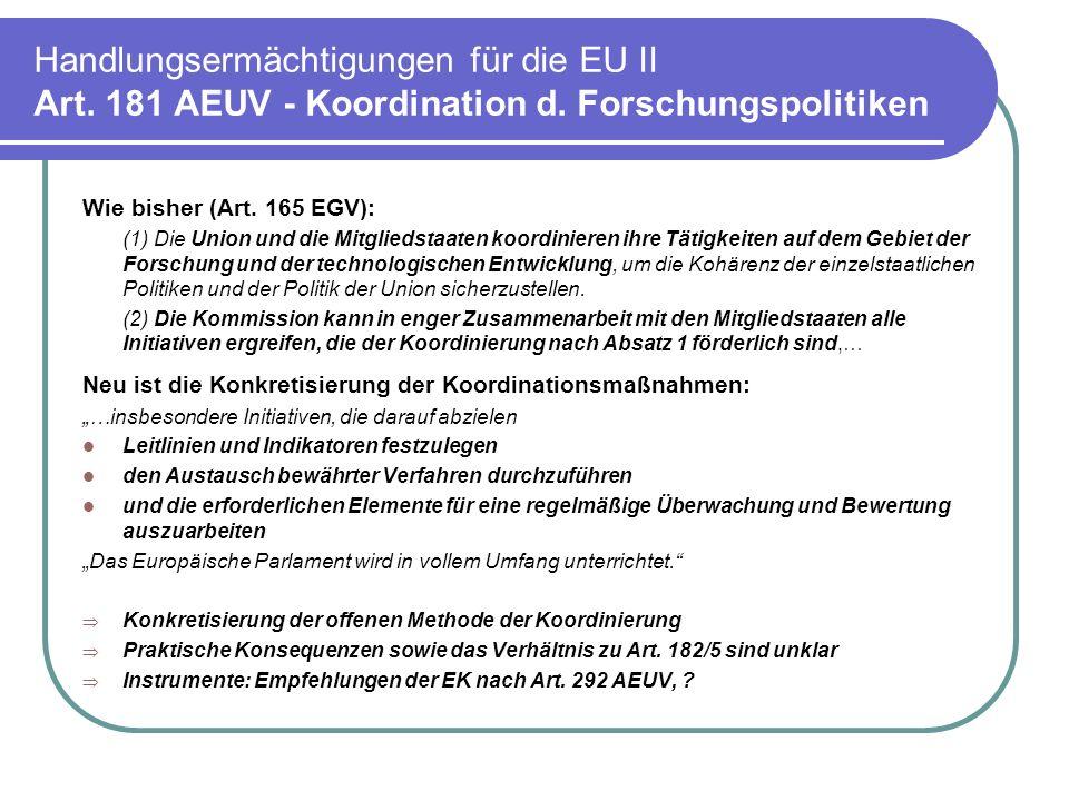 Handlungsermächtigungen für die EU II Art.181 AEUV - Koordination d.