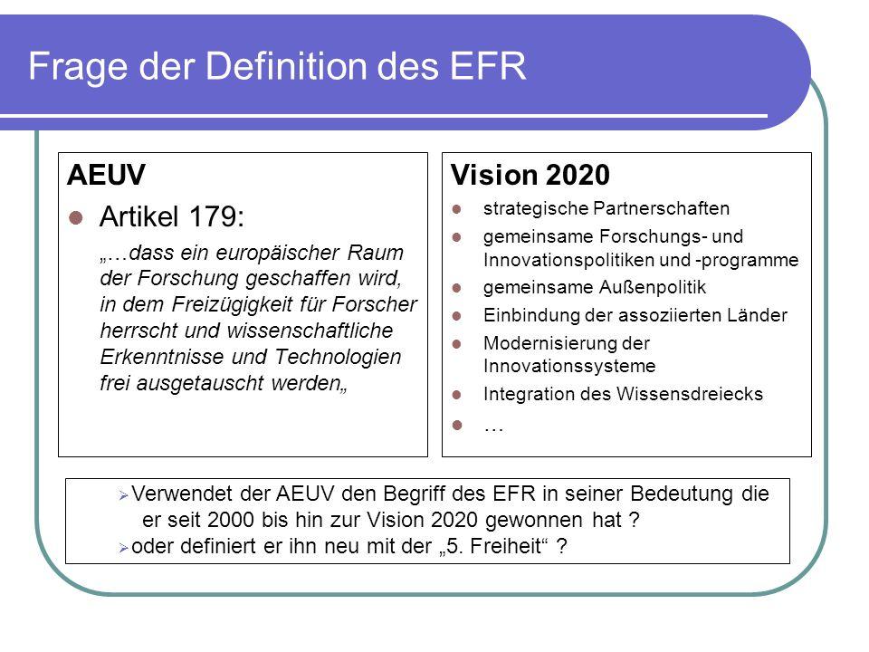 Frage der Definition des EFR AEUV Artikel 179: …dass ein europäischer Raum der Forschung geschaffen wird, in dem Freizügigkeit für Forscher herrscht und wissenschaftliche Erkenntnisse und Technologien frei ausgetauscht werden Vision 2020 strategische Partnerschaften gemeinsame Forschungs- und Innovationspolitiken und -programme gemeinsame Außenpolitik Einbindung der assoziierten Länder Modernisierung der Innovationssysteme Integration des Wissensdreiecks … Verwendet der AEUV den Begriff des EFR in seiner Bedeutung die er seit 2000 bis hin zur Vision 2020 gewonnen hat .