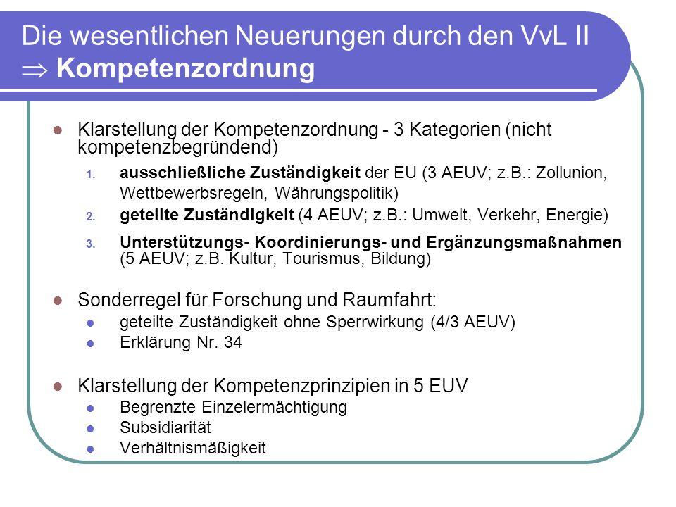 Die wesentlichen Neuerungen durch den VvL II Kompetenzordnung Klarstellung der Kompetenzordnung - 3 Kategorien (nicht kompetenzbegründend) 1.