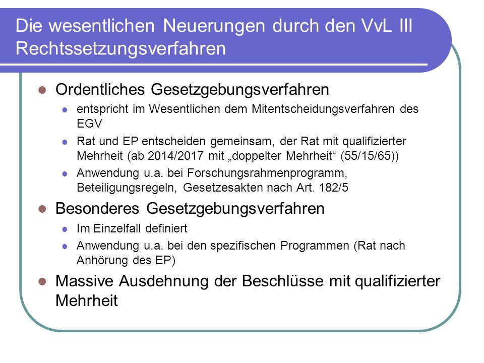 Die wesentlichen Neuerungen durch den VvL III Rechtssetzungsverfahren Ordentliches Gesetzgebungsverfahren entspricht im Wesentlichen dem Mitentscheidungsverfahren des EGV Rat und EP entscheiden gemeinsam, der Rat mit qualifizierter Mehrheit (ab 2014/2017 mit doppelter Mehrheit (55/15/65)) Anwendung u.a.