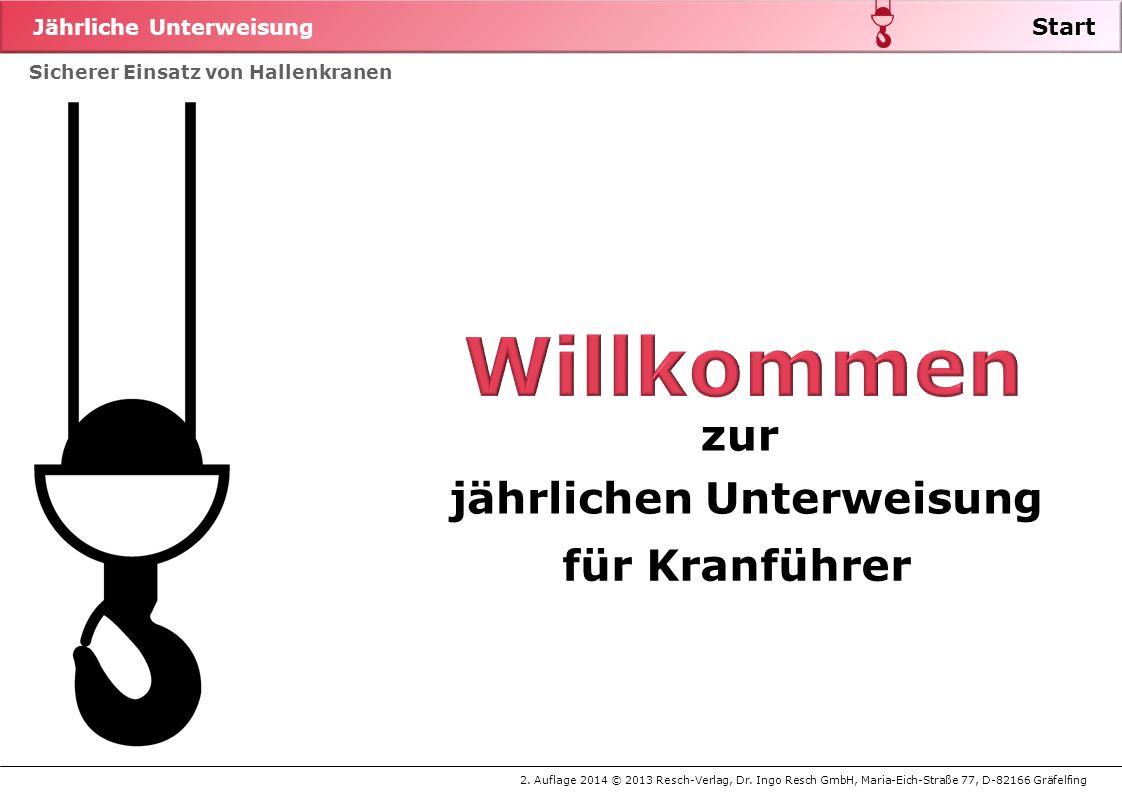Jährliche Unterweisung 2. Auflage 2014 © 2013 Resch-Verlag, Dr. Ingo Resch GmbH, Maria-Eich-Straße 77, D-82166 Gräfelfing Sicherer Einsatz von Hallenk
