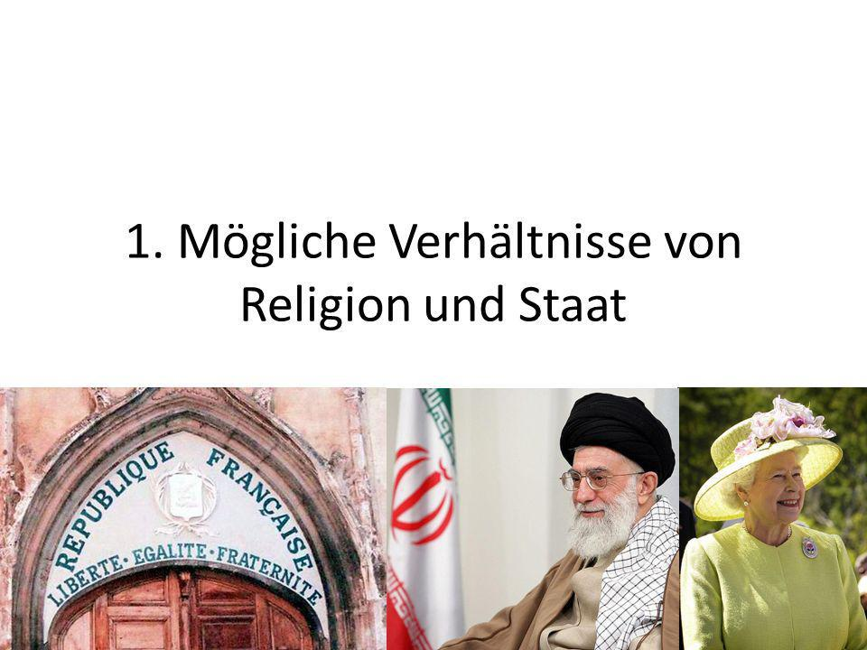 Mögliche Verhältnisse von Religion und Staat Verhältnis von Staat und Religionsgemeinschaft: – Behandelt der Staat die Religionsgemeinschaften nach rechtsstaatlichen Maßstäben.