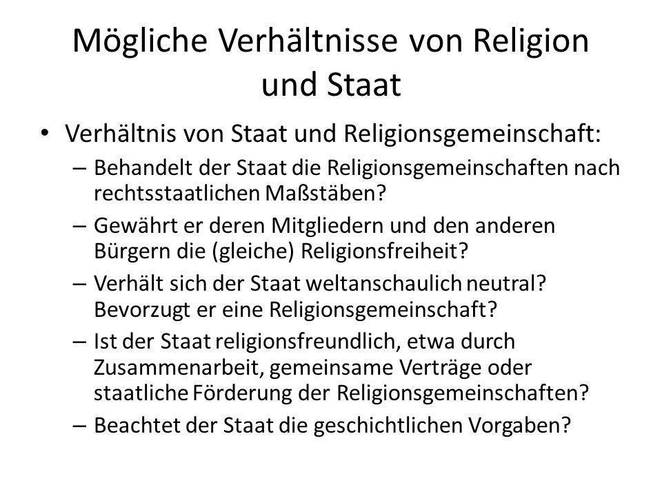Mögliche Verhältnisse von Religion und Staat Verhältnis von Staat und Religionsgemeinschaft: – Behandelt der Staat die Religionsgemeinschaften nach re