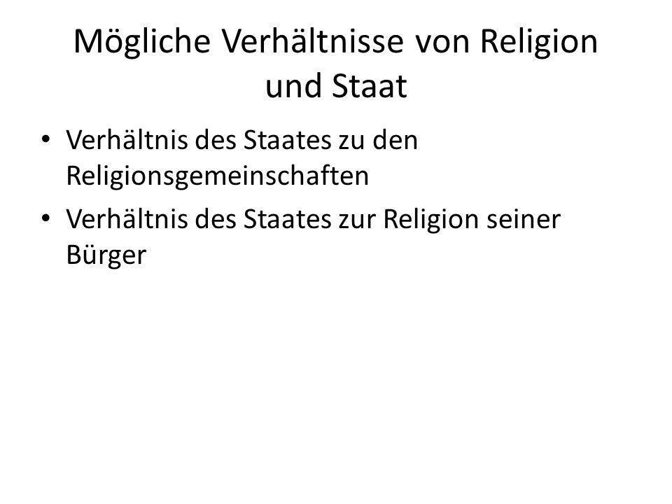 Mögliche Verhältnisse von Religion und Staat Verhältnis des Staates zu den Religionsgemeinschaften – Frage der Freiheit von religiösen Vereinigungen Verhältnis des Staates zur Religion seiner Bürger – Frage der Religionsfreiheit